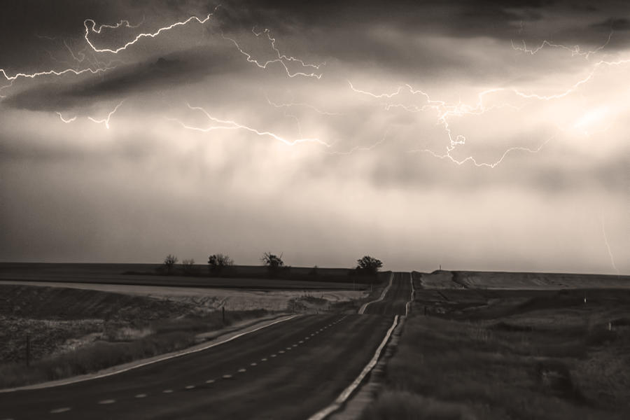 Chasing The Storm - County Rd 95 And Highway 52 - Co- Sepia Photograph