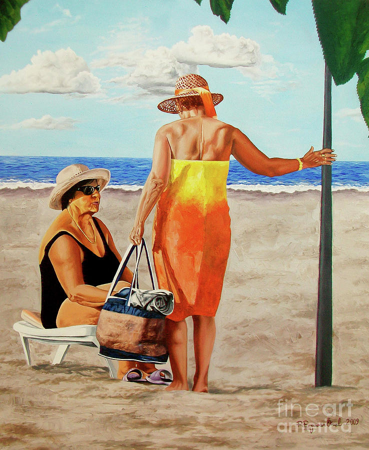 Chat On The Beach - Chat En La Playa Painting  - Chat On The Beach - Chat En La Playa Fine Art Print