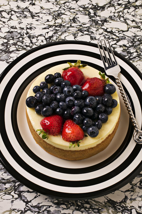 Cheese Cake On Black And White Plate Photograph