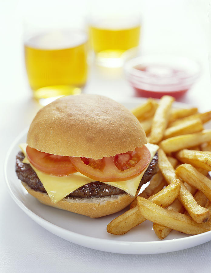 Cheeseburger And Chips Photograph
