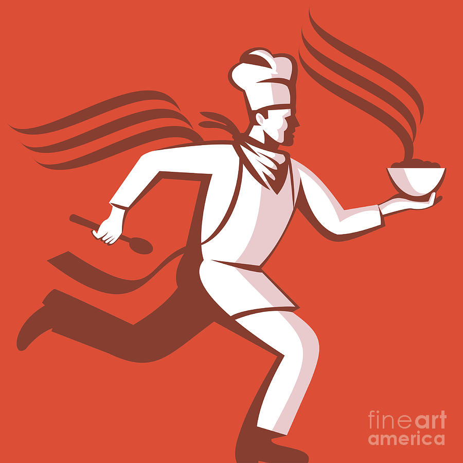 Chef Cook Baker Running With Soup Bowl Digital Art  - Chef Cook Baker Running With Soup Bowl Fine Art Print
