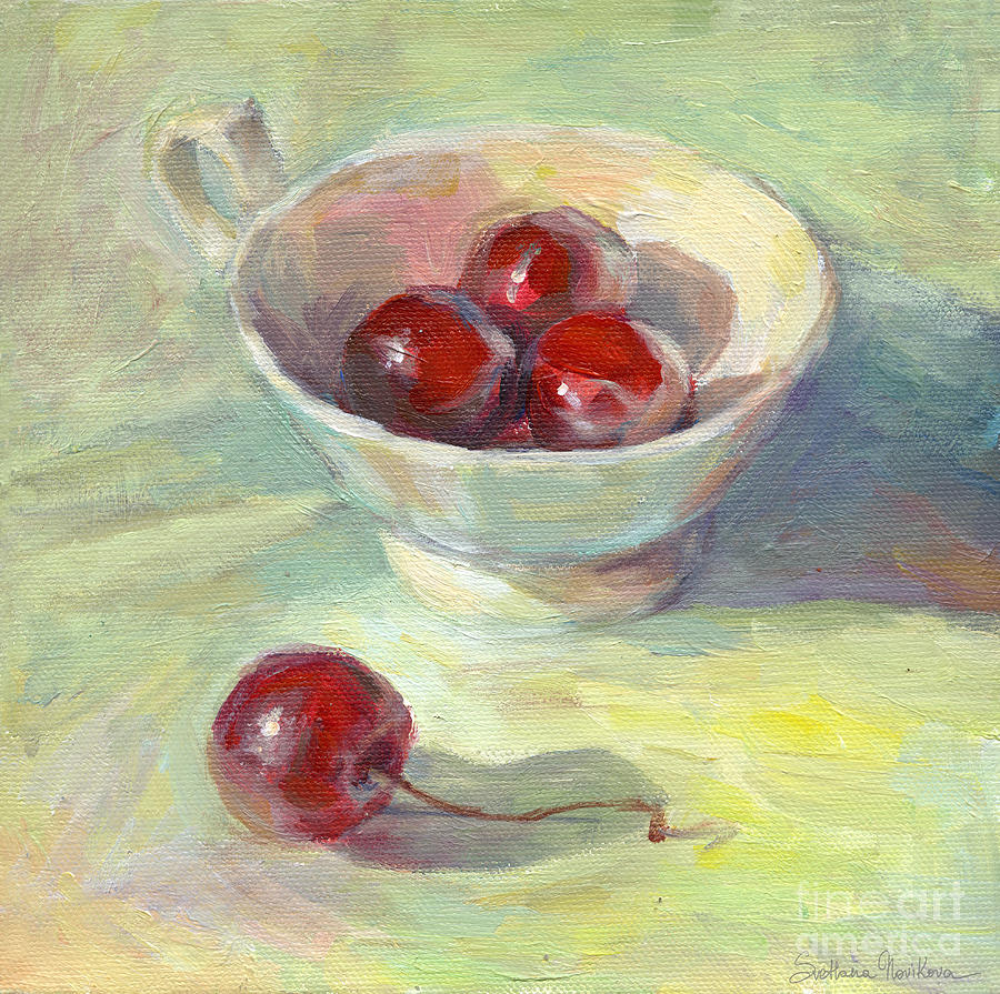 Cherries In A Cup On A Sunny Day Painting Painting