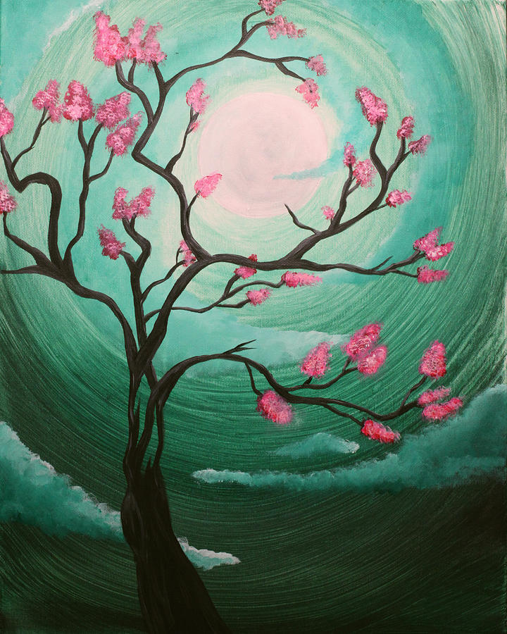 Cherry blossom painting by annie keen for Canvas painting of cherry blossoms