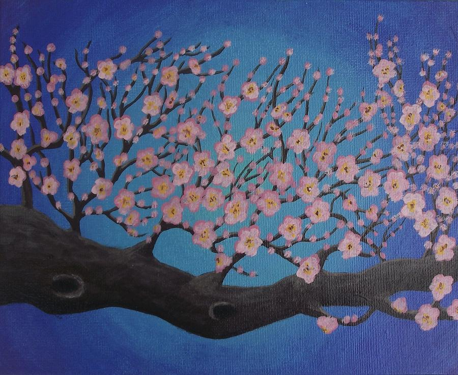 Cherry Blossom Branch Painting by Erika Betts