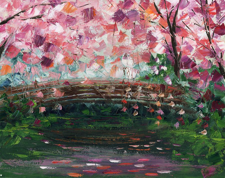 japanese garden cherry blossom paintings - Japanese Garden Cherry Blossom Bridge