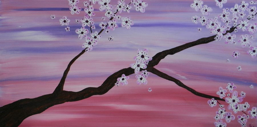 Cherry Blossoms Painting - Cherry Blossoms At Sunrise by Heather  Hubb