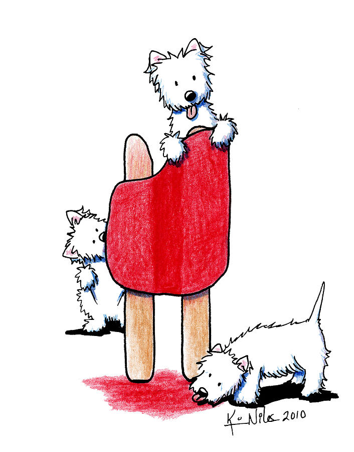 Cherry Pop Westies Drawing  - Cherry Pop Westies Fine Art Print