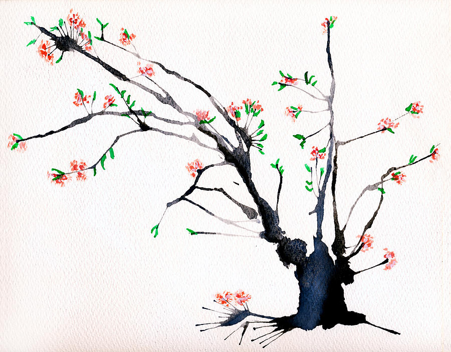 Cherry Tree By Straw Painting