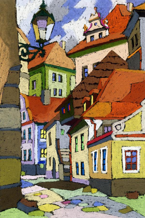 Chesky Krumlov Masna Street 1 Painting