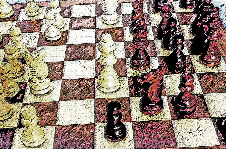Chess Board - Game In Progress 1 Photograph  - Chess Board - Game In Progress 1 Fine Art Print