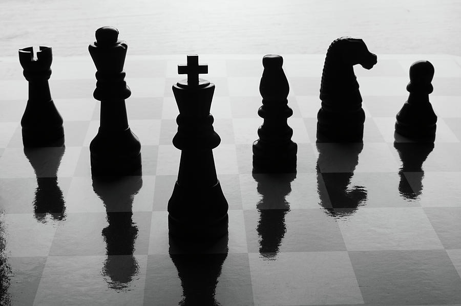 Chess Board And Pieces Photograph