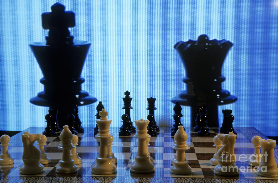 Chess Board With King And Queen Chess Pieces In Front Of Tv Scre Photograph  - Chess Board With King And Queen Chess Pieces In Front Of Tv Scre Fine Art Print
