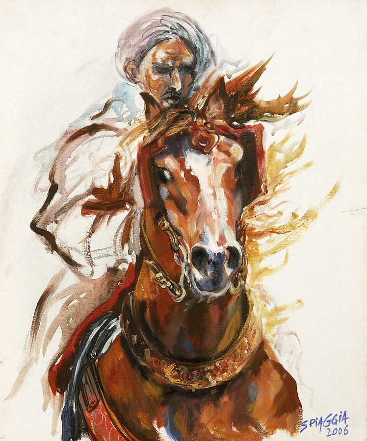 Cheval Arabe Monte En Action Painting