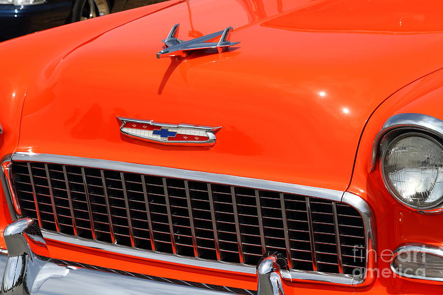 Chevrolet Bel-air Stationwagon . Orange . 7d15269 Photograph  - Chevrolet Bel-air Stationwagon . Orange . 7d15269 Fine Art Print