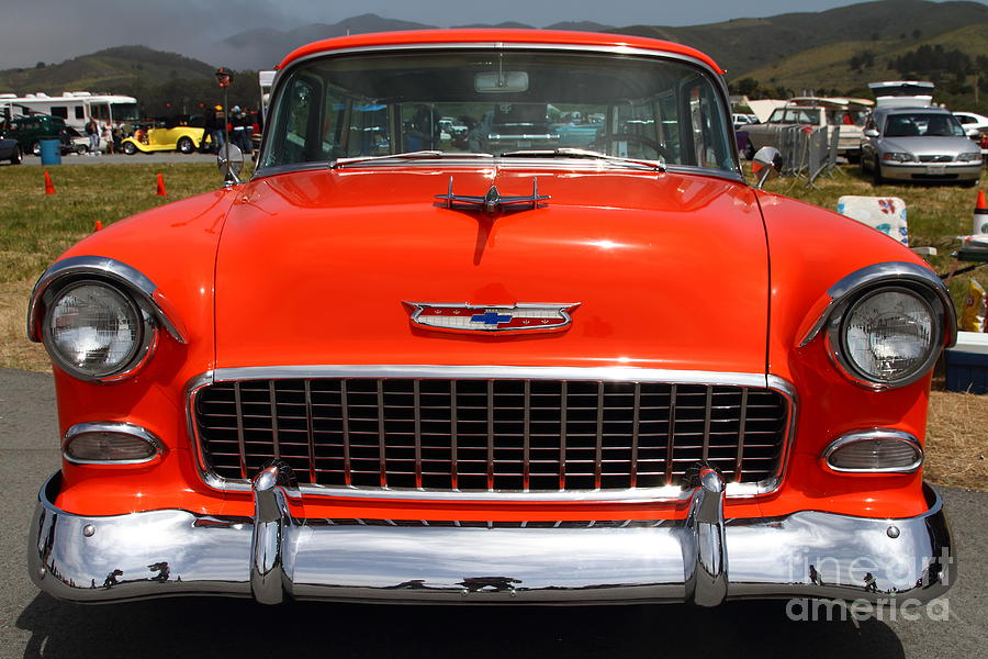 Chevrolet Bel-air Stationwagon . Orange . 7d15270 Photograph  - Chevrolet Bel-air Stationwagon . Orange . 7d15270 Fine Art Print