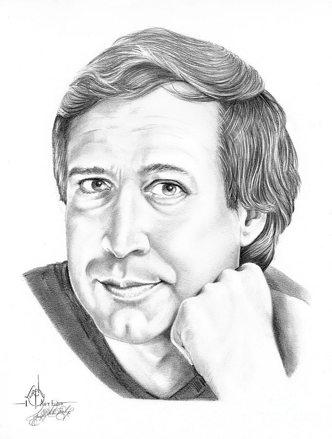 Pencil Drawing - Chevy Chase by Murphy Elliott