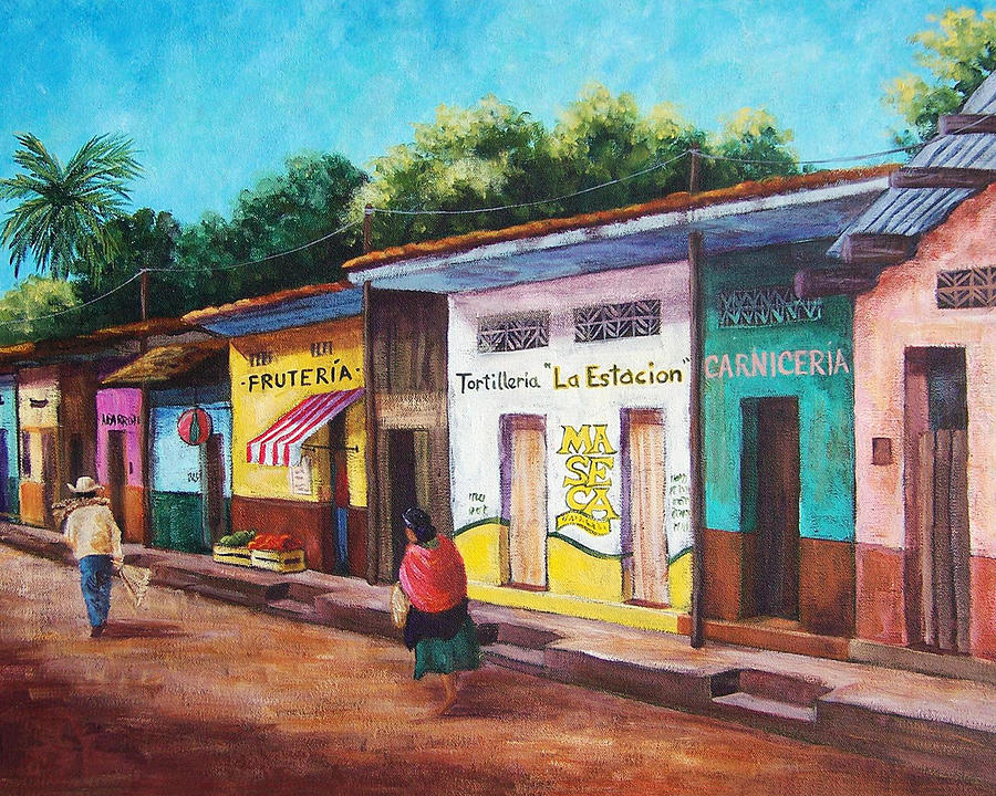 Chiapas Neighborhood Painting  - Chiapas Neighborhood Fine Art Print