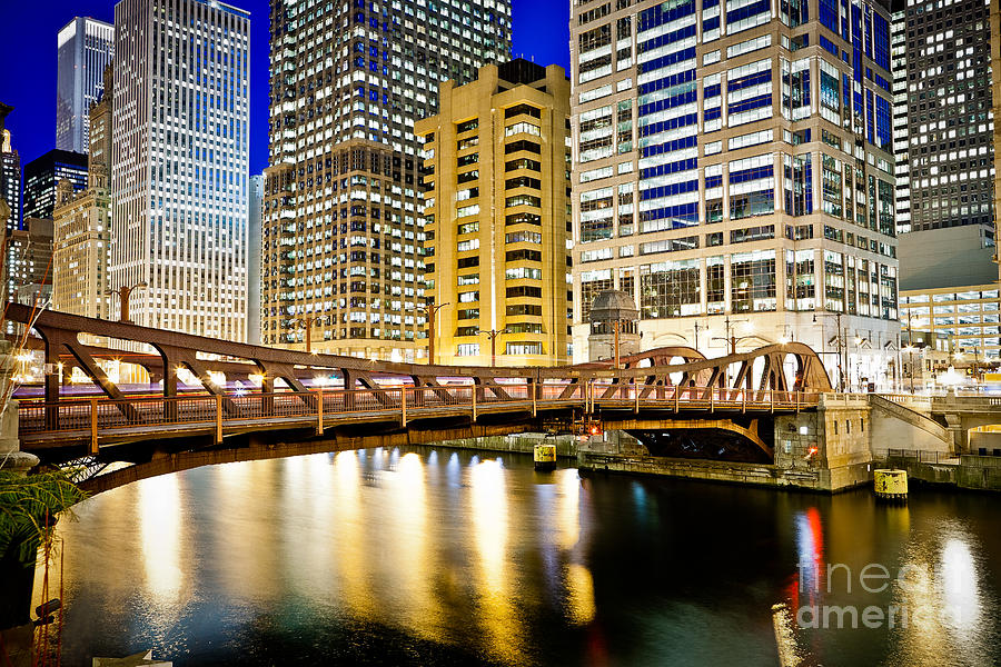 Chicago At Night At Clark Street Bridge Photograph  - Chicago At Night At Clark Street Bridge Fine Art Print