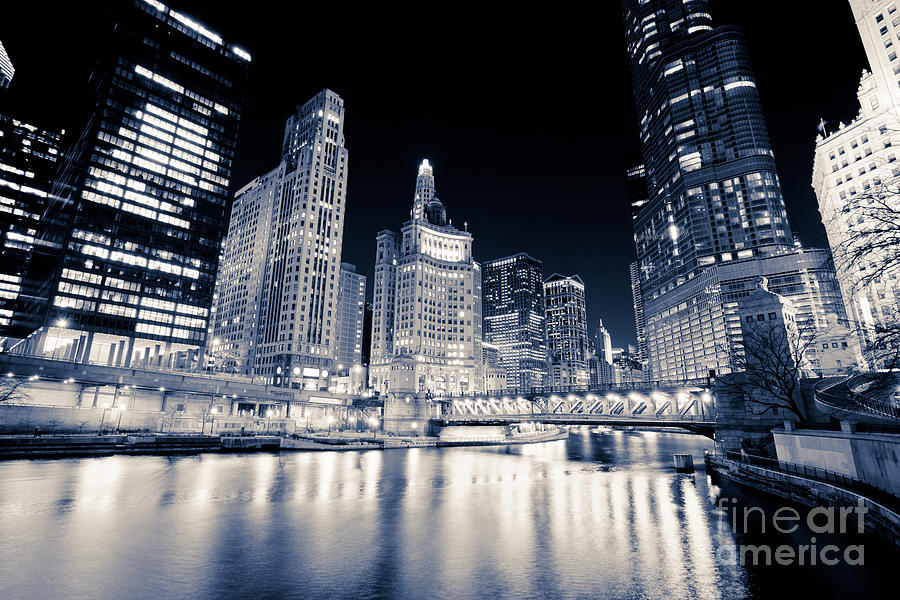 Chicago At Night At Michigan Avenue Bridge Photograph  - Chicago At Night At Michigan Avenue Bridge Fine Art Print