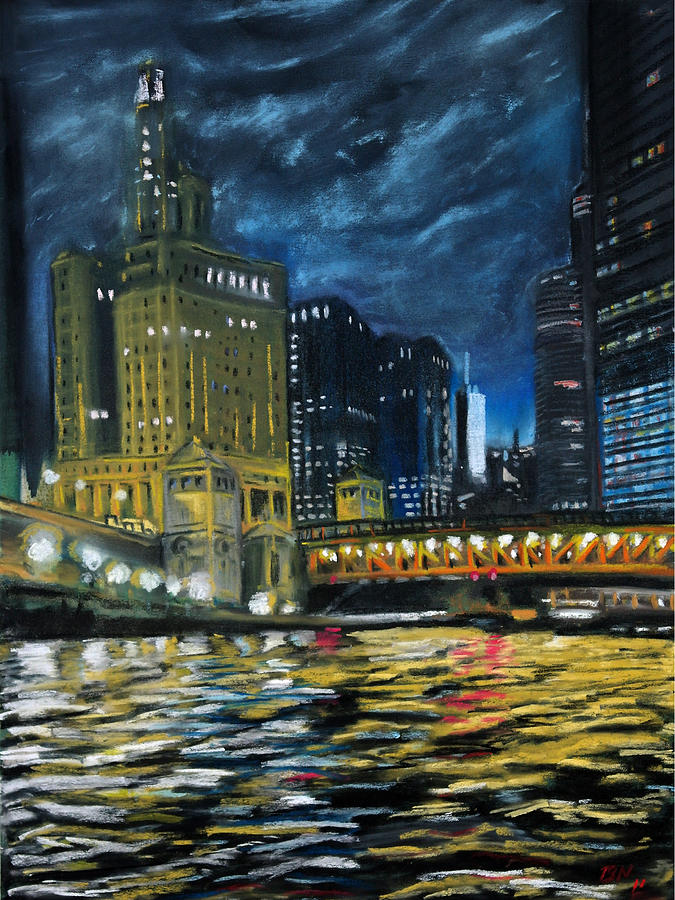 Chicago At Night Pastel