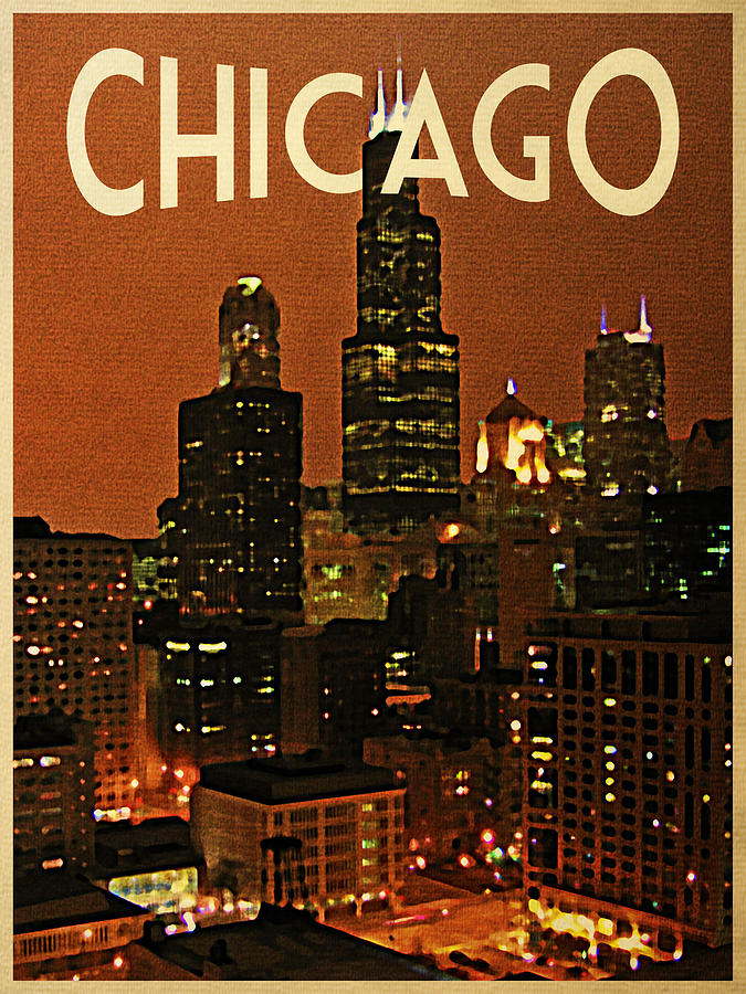 Chicago At Night Digital Art