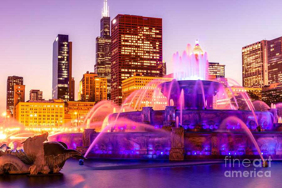 Chicago At Night With Buckingham Fountain Photograph