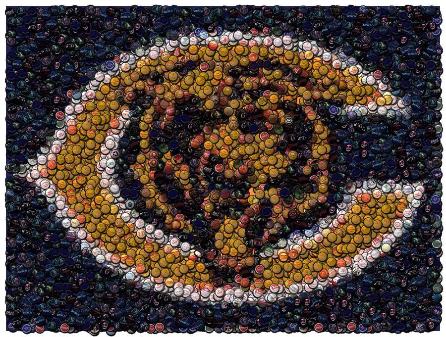 Chicago Bears Bottle Cap Mosaic Digital Art