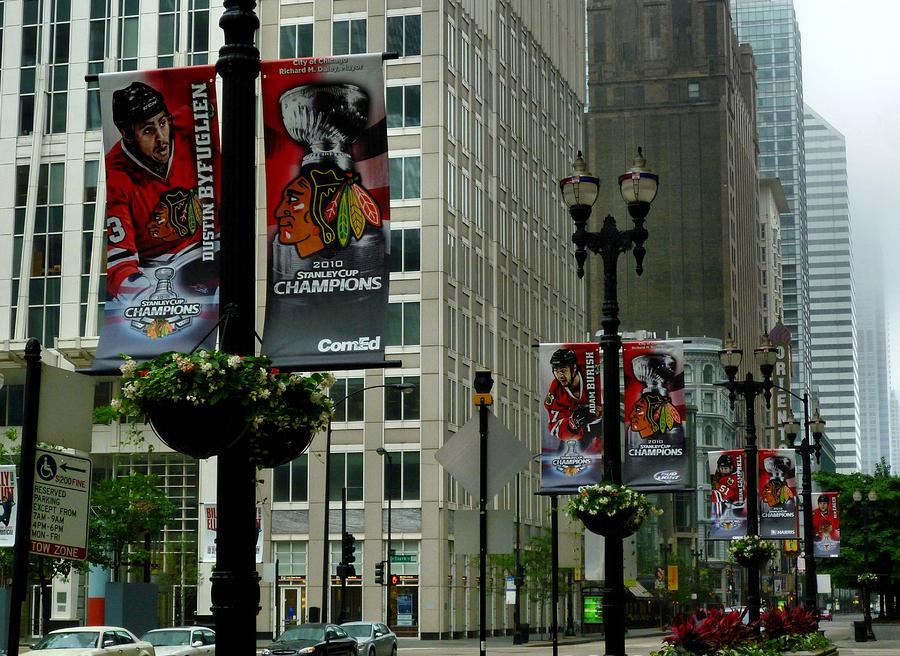 Chicago Blackhawk Flags Photograph