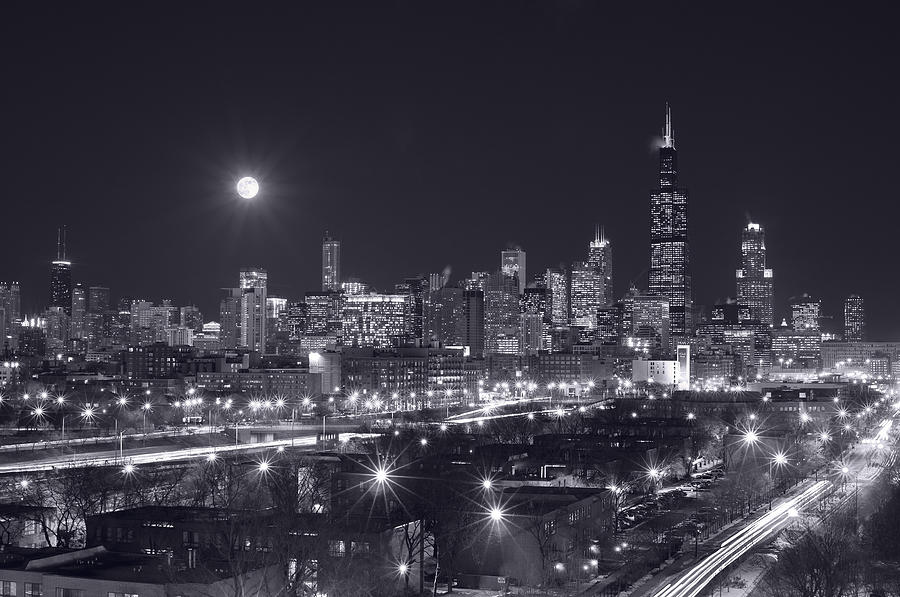 Chicago By Night Photograph  - Chicago By Night Fine Art Print