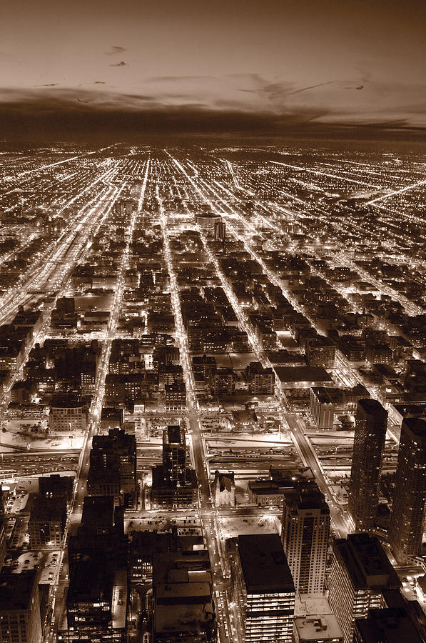 Chicago City Lights West B W Photograph