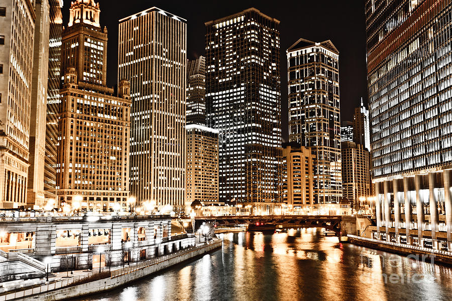 Chicago City Skyline At Night Photograph  - Chicago City Skyline At Night Fine Art Print