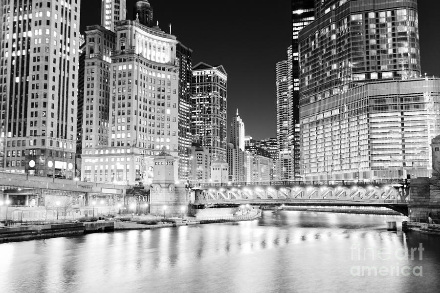 Chicago Cityscape At Night At Dusable Bridge Photograph