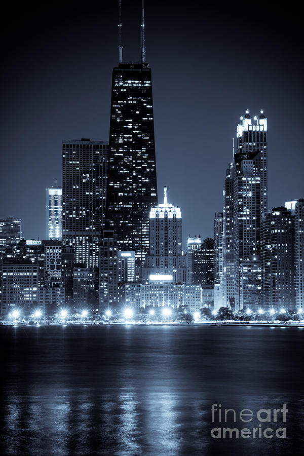 Chicago Cityscape At Night Photograph  - Chicago Cityscape At Night Fine Art Print