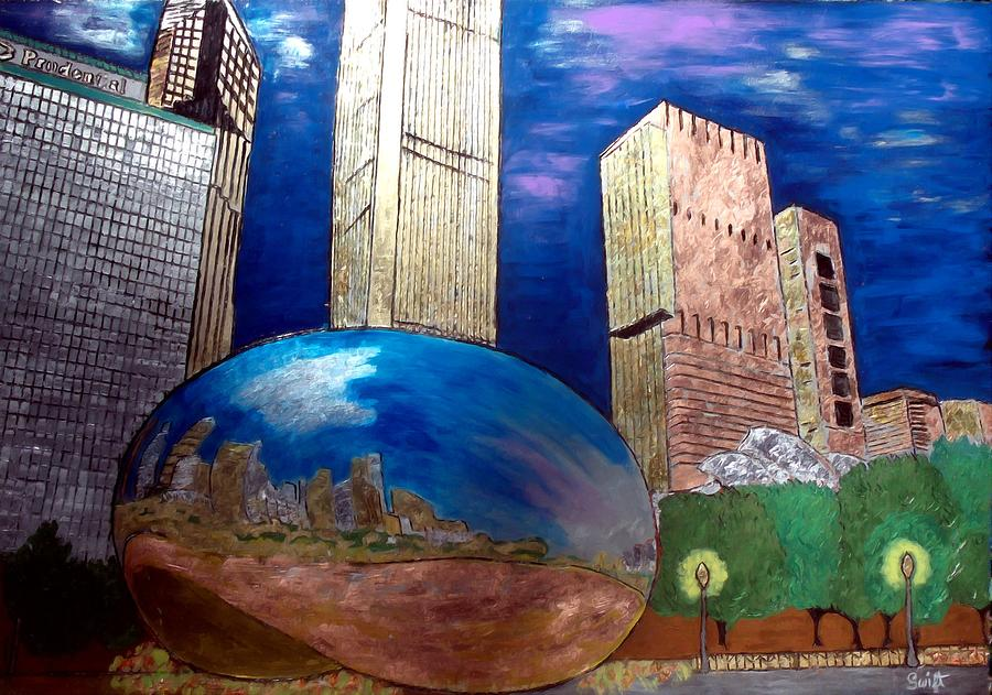 Chicago Cloud Gate At Millennium Park Painting