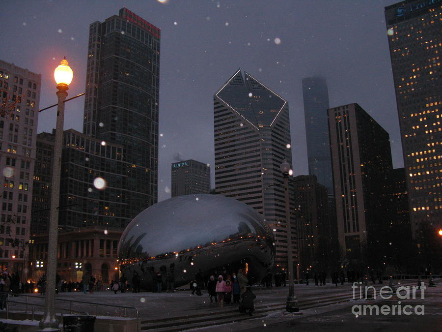 Chicago Cloud Gate At Night Photograph