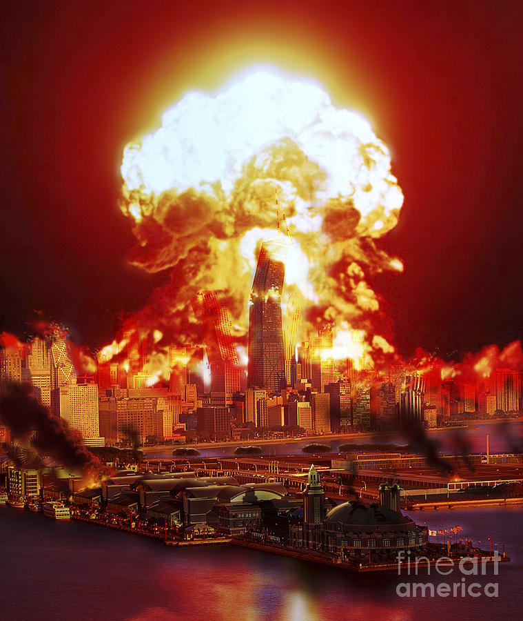 Chicago Disintegrates As A Nuclear Digital Art  - Chicago Disintegrates As A Nuclear Fine Art Print