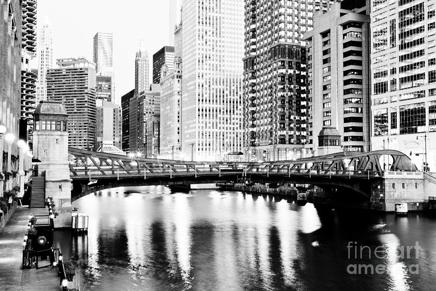 Chicago Downtown At Clark Street Bridge Photograph