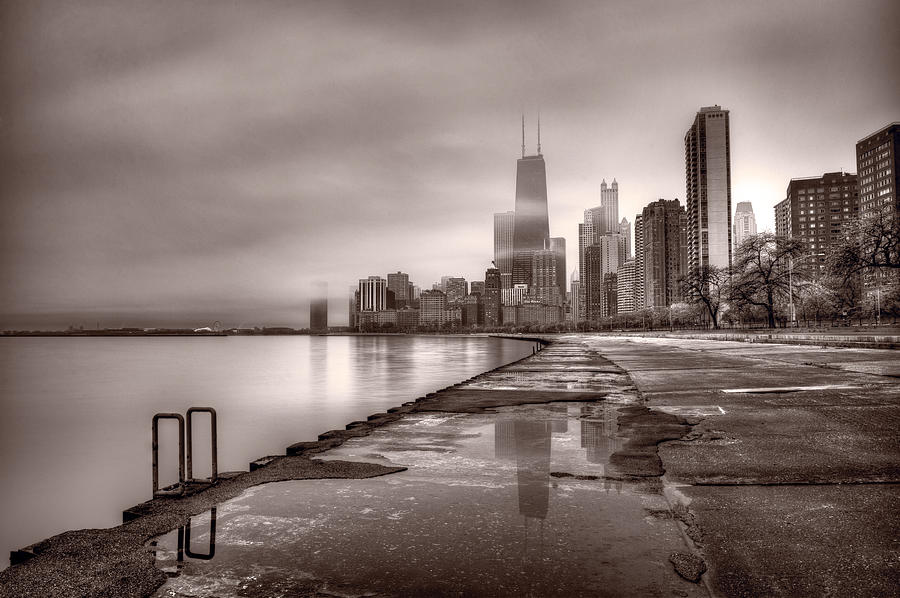 Chicago Foggy Lakefront Bw Photograph