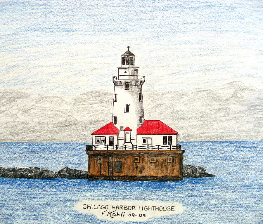 Chicago Harbor Lighthouse Drawing  - Chicago Harbor Lighthouse Fine Art Print