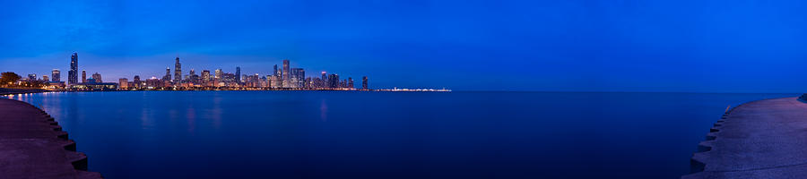 Chicago Lakefront Ultra Wide Hd Photograph  - Chicago Lakefront Ultra Wide Hd Fine Art Print