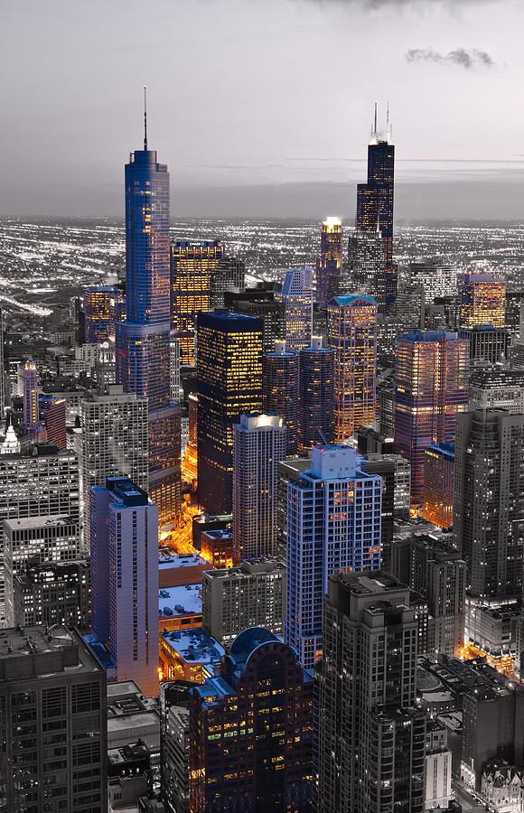 Chicago Loop Sundown Bw Color Blend Photograph