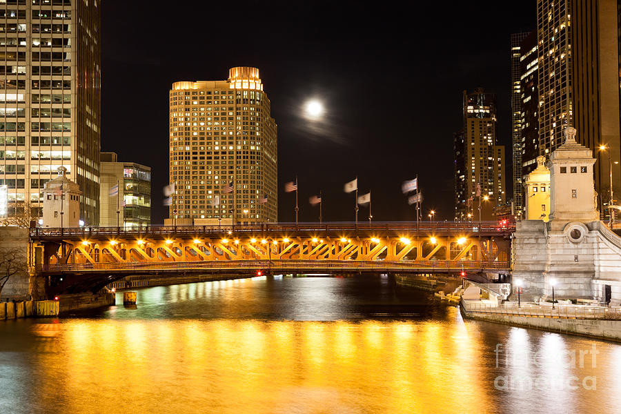 Chicago Michigan Avenue Dusable Bridge At Night Photograph  - Chicago Michigan Avenue Dusable Bridge At Night Fine Art Print