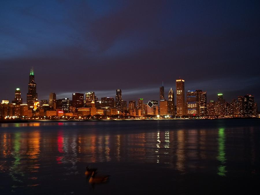 Chicago Night Reflection Photograph  - Chicago Night Reflection Fine Art Print