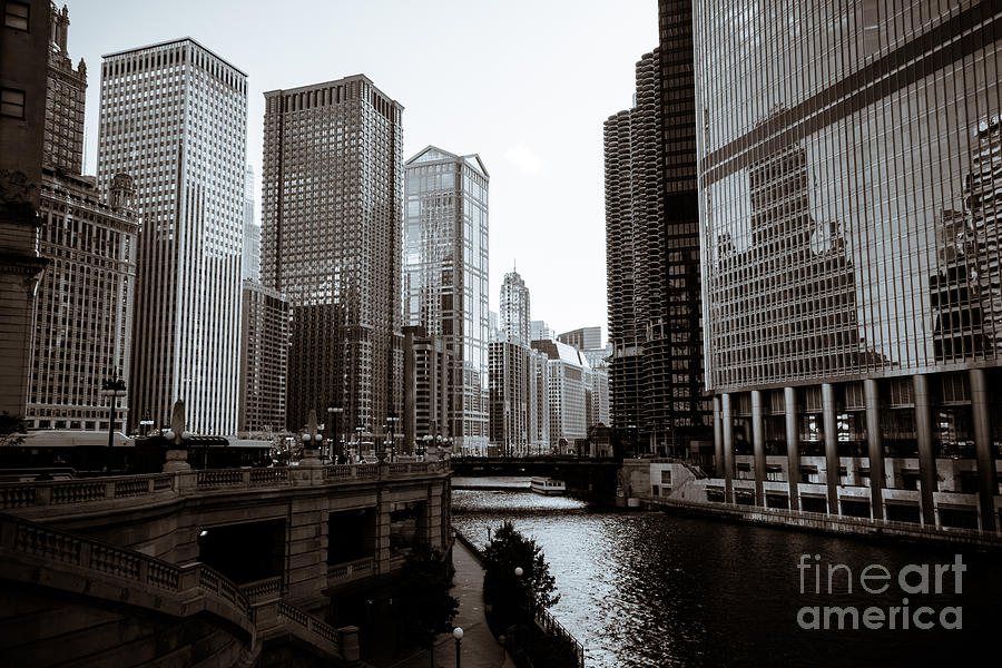 Chicago River Downtown Buildings In Black And White Photograph