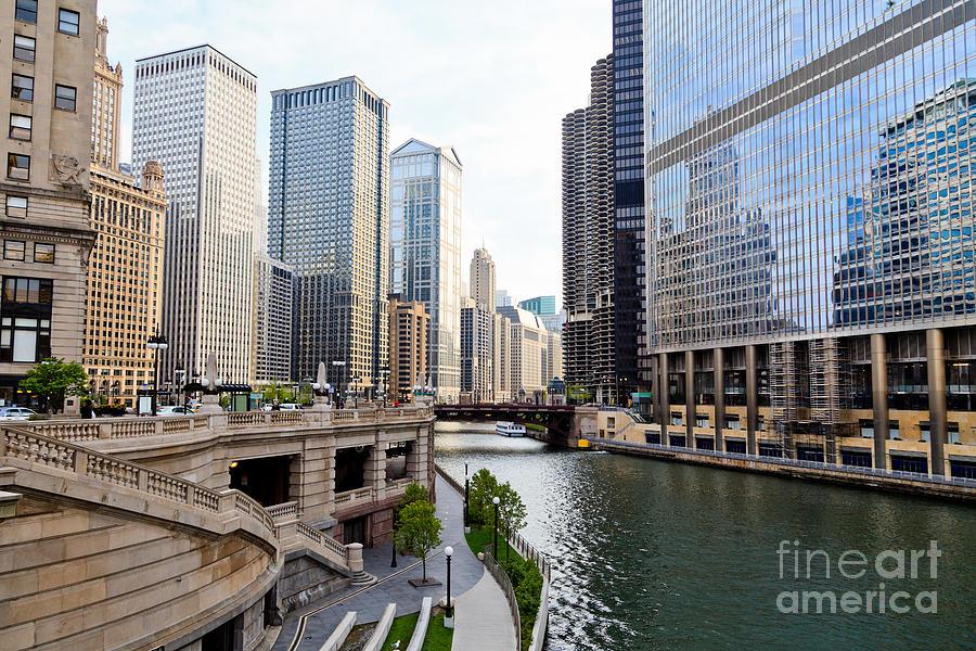 Chicago River Skyline Building Architecture Photograph