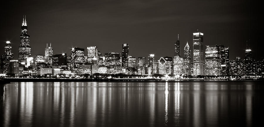 Black White Skyline Of Chicago Photography On Canvas