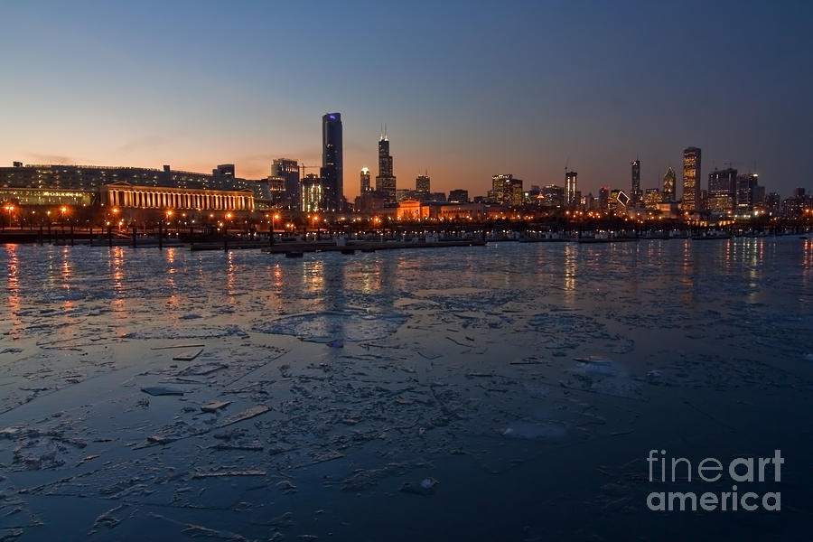 Chicago Skyline At Dusk Photograph  - Chicago Skyline At Dusk Fine Art Print