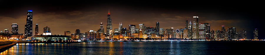 Chicago Skyline At Night Extra Wide Panorama Photograph  - Chicago Skyline At Night Extra Wide Panorama Fine Art Print