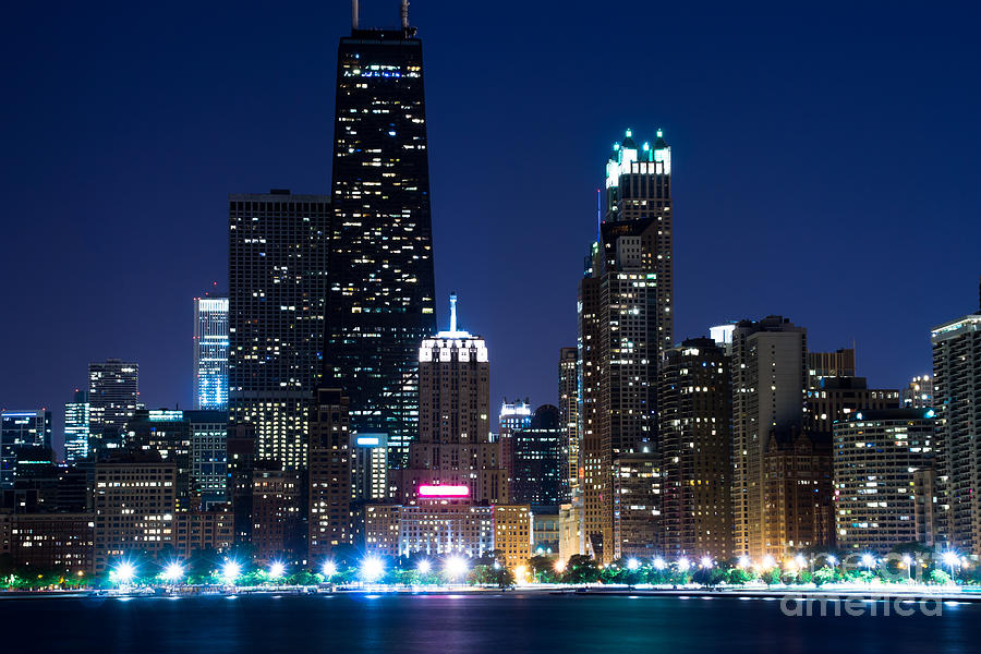 Chicago Skyline At Night With John Hancock Building Photograph