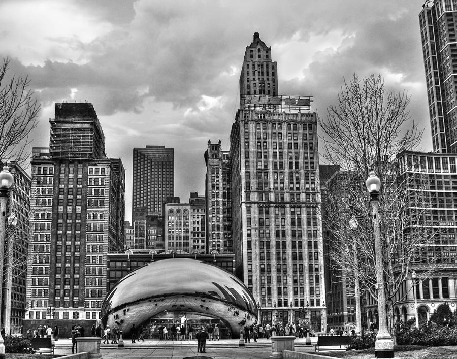 Chicago Skyline In Black And White Photograph